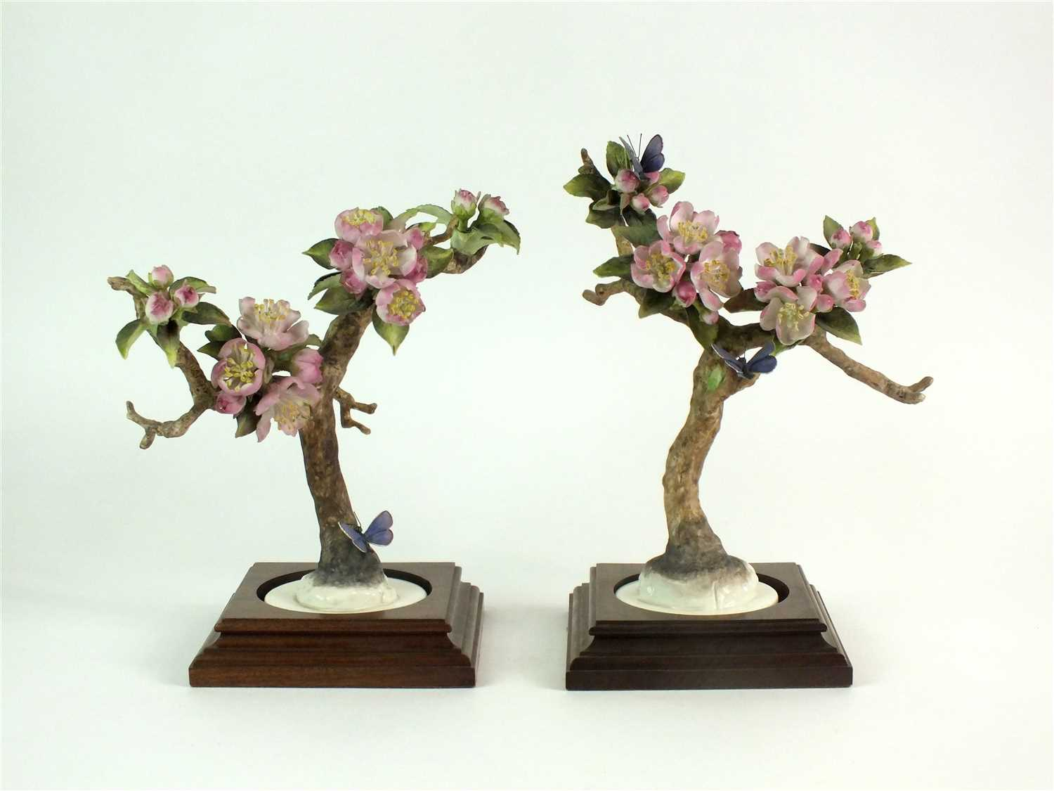 Lot 70-A pair of Royal Worcester models of Crab Apple and Butterflies