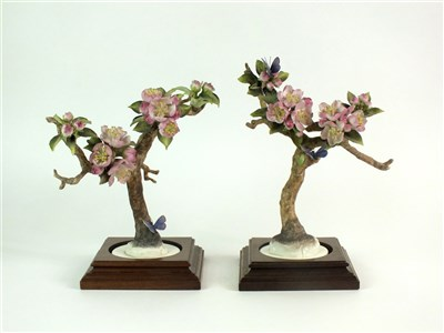 Lot 70 - A pair of Royal Worcester models of Crab Apple and Butterflies
