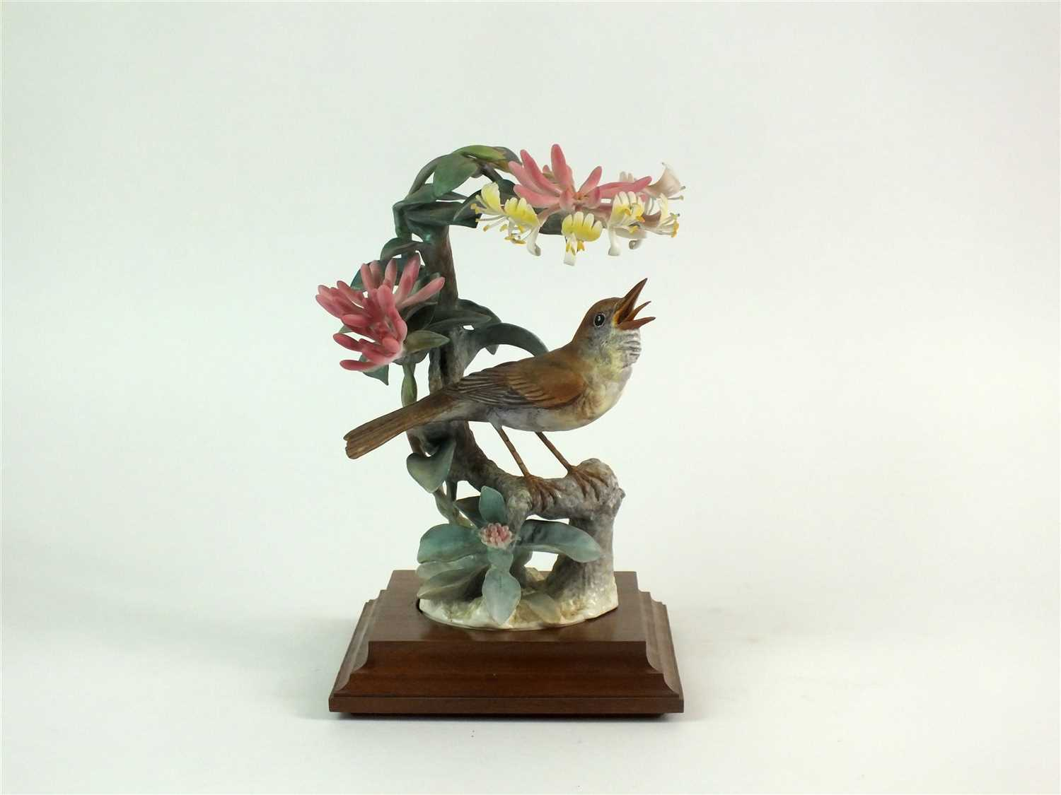 Lot 71-A Royal Worcester model of a Nightingale and Honeysuckle