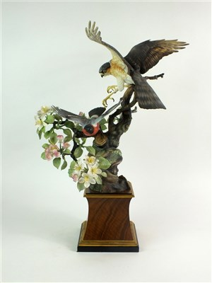 Lot 72 - A Royal Worcester model of a Sparrowhawk and Bullfinch