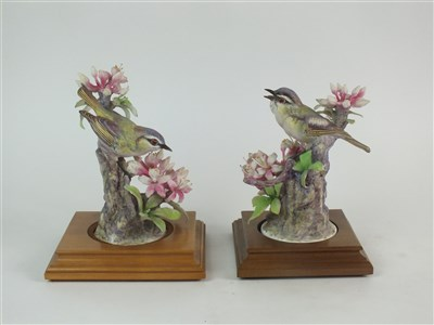 Lot 75-A pair of Royal Worcester models of Red-Eyed Vireos