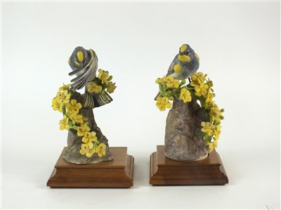Lot 76-A pair of Royal Worcester figures of Audubon Warblers on Palo Verdi