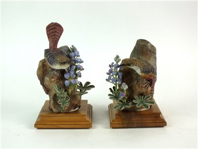 Lot 78-A pair of Royal Worcester models of Canyon Wrens
