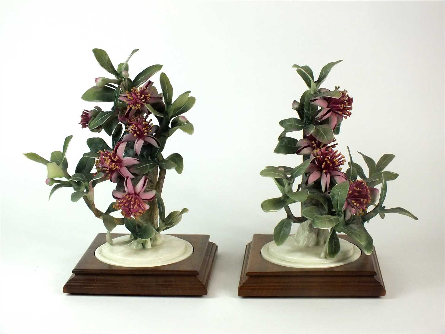 Lot 83-A pair of Royal Worcester models of Mexican Feijoa and Ladybirds