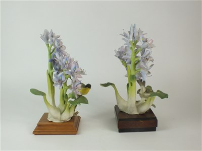 Lot 84-A pair of Royal Worcester models of Yellow-Throats and Purple Hyacinth