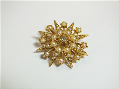 Lot 44-A seed pearl and diamond brooch