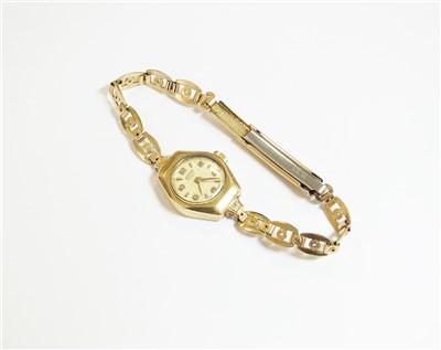 Lot 49-A 9ct gold bracelet watch