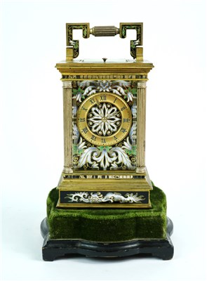 Lot 211-A French mid-late 19th century champleve enamel cased carriage clock on stand