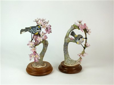 Lot 85 - A pair of Royal Worcester models of Myrtle Warblers