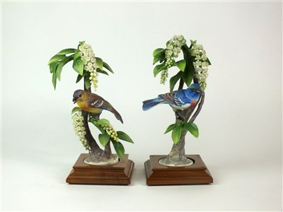 Lot 88 - A pair of Royal Worcester models of Lazuli Bunting on Choke Cherry