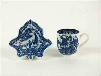 Lot 58-A Caughley pickle leaf dish and coffee cup