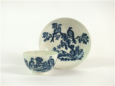 Lot 52-A Caughley Birds in Branches tea bowl and saucer