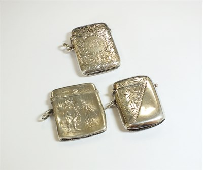 Lot 51-A collection of three silver vesta cases