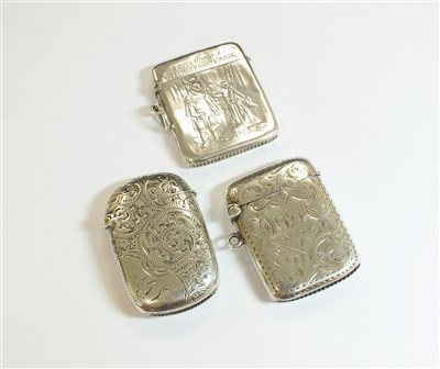 Lot 52-A collection of three silver vesta cases