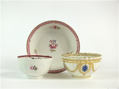 Lot 59-A Caughley polychrome tea bowl and a further polychrome tea bowl and saucer