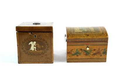 Lot 186-A 19th century continental pen work decorated box  and a Regency tea caddy