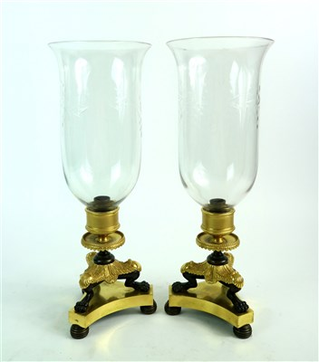 Lot 171-A pair of French Empire bronze, ormolu and gilt brass storm lamps / lanterns