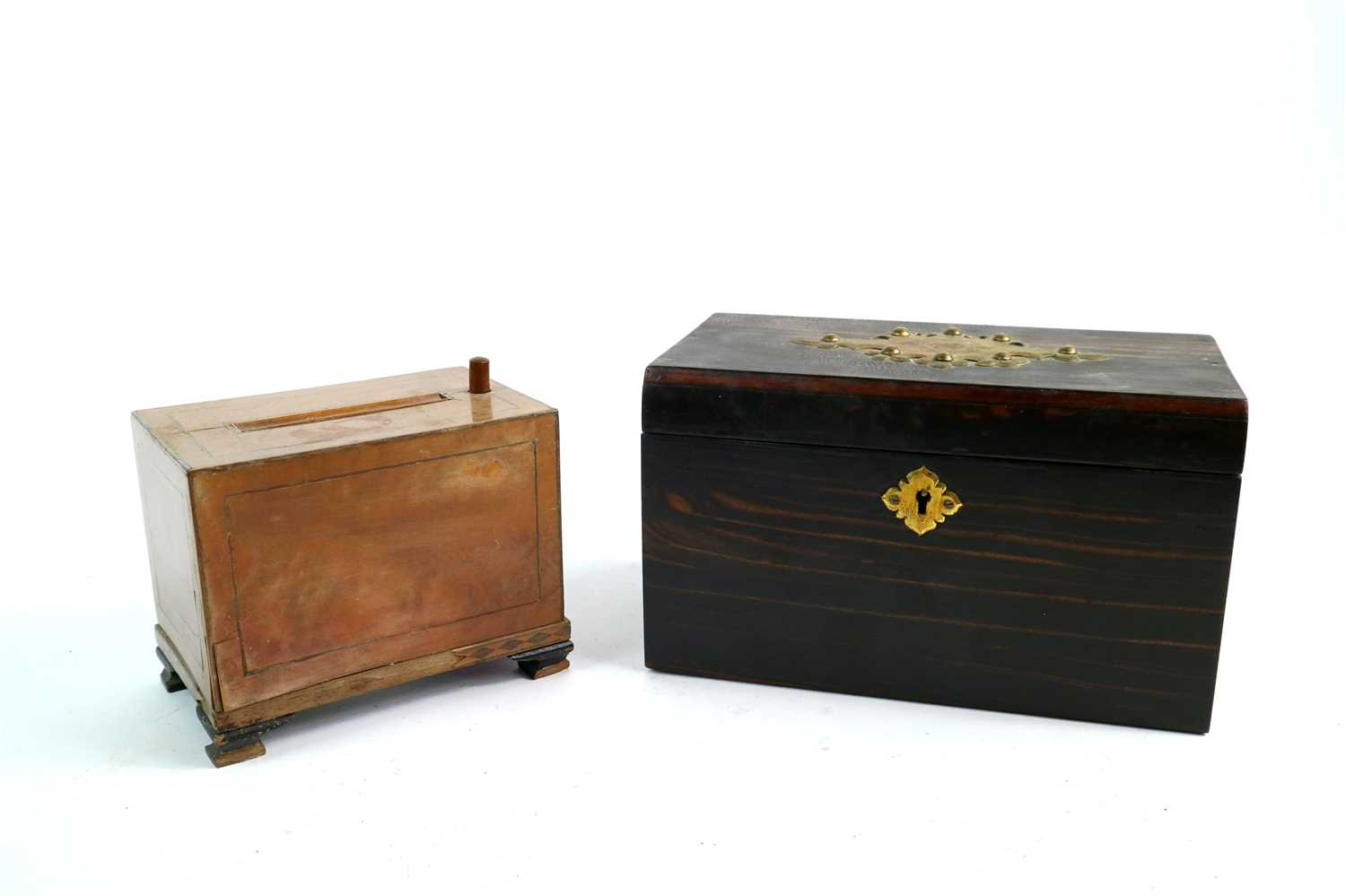 Lot 180-A Victorian coromandel veneered tea caddy and an early 20th century cigarette dispenser