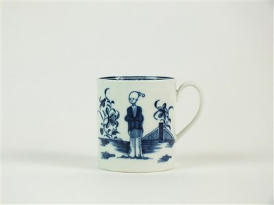 Lot 2-A rare Caughley 'Waiting Chinaman' coffee can