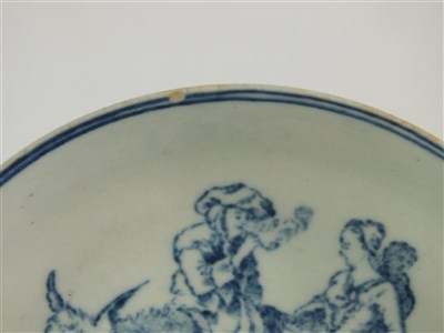 Lot 8-A Liverpool porcelain 'Travellers' tea bowl and saucer