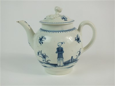 Lot 9-A Worcester 'Waiting Chinaman' teapot, cover and stand