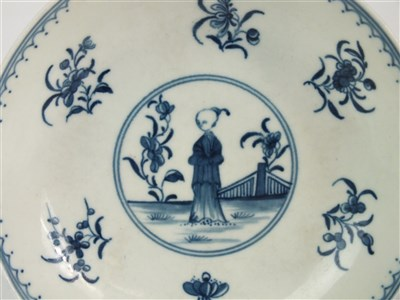 Lot 10-A Worcester porcelain 'Waiting Chinaman' tea bowl and saucer