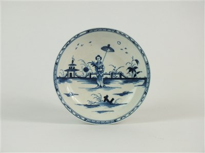 Lot 14-A Caughley porcelain 'Girl with Parasol' saucer