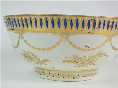 Lot 16-A rare Caughley polychrome George IV Prince of Wales punch bowl