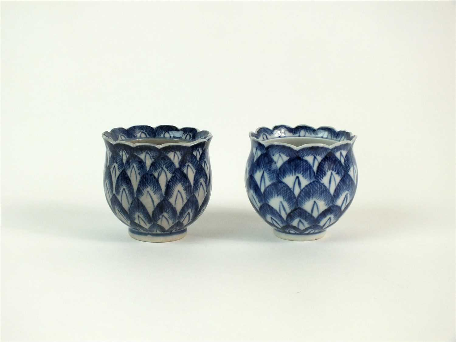 Lot 23-Two Caughley and Chinese porcelain artichoke ice cups