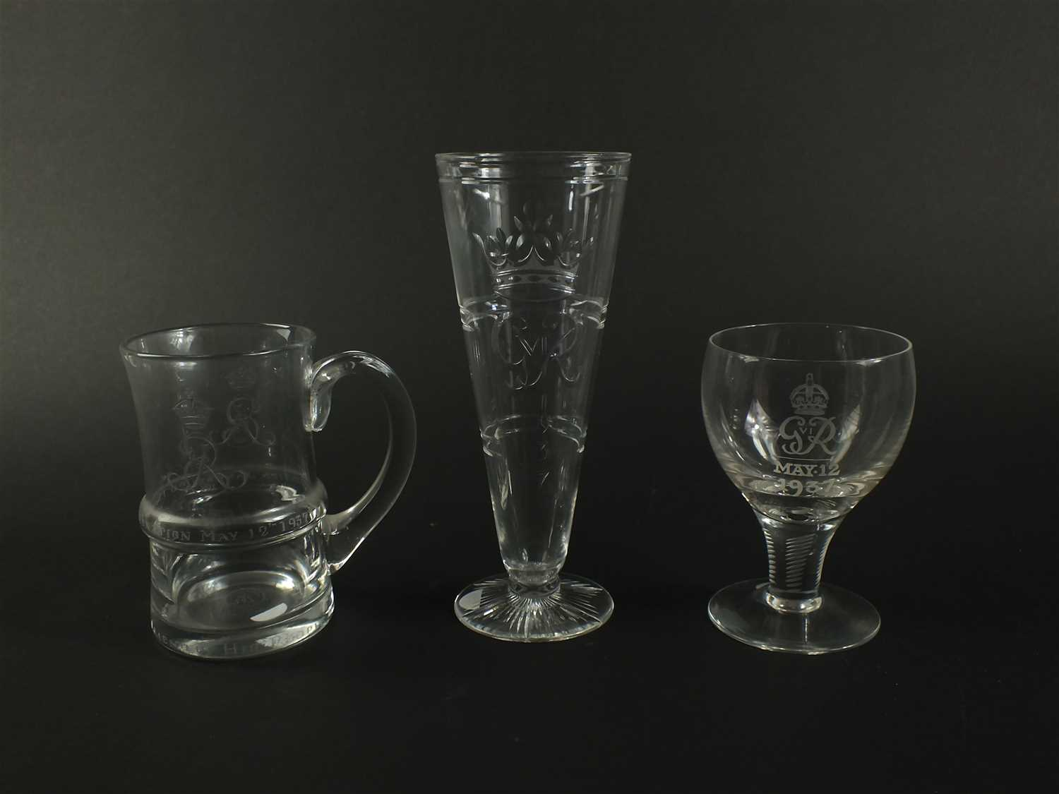 Lot 114-Three English Coronation glasses