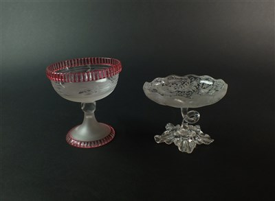 Lot 105 - A late 19th century Stourbridge sweetmeat dish and a Victorian sugar bowl