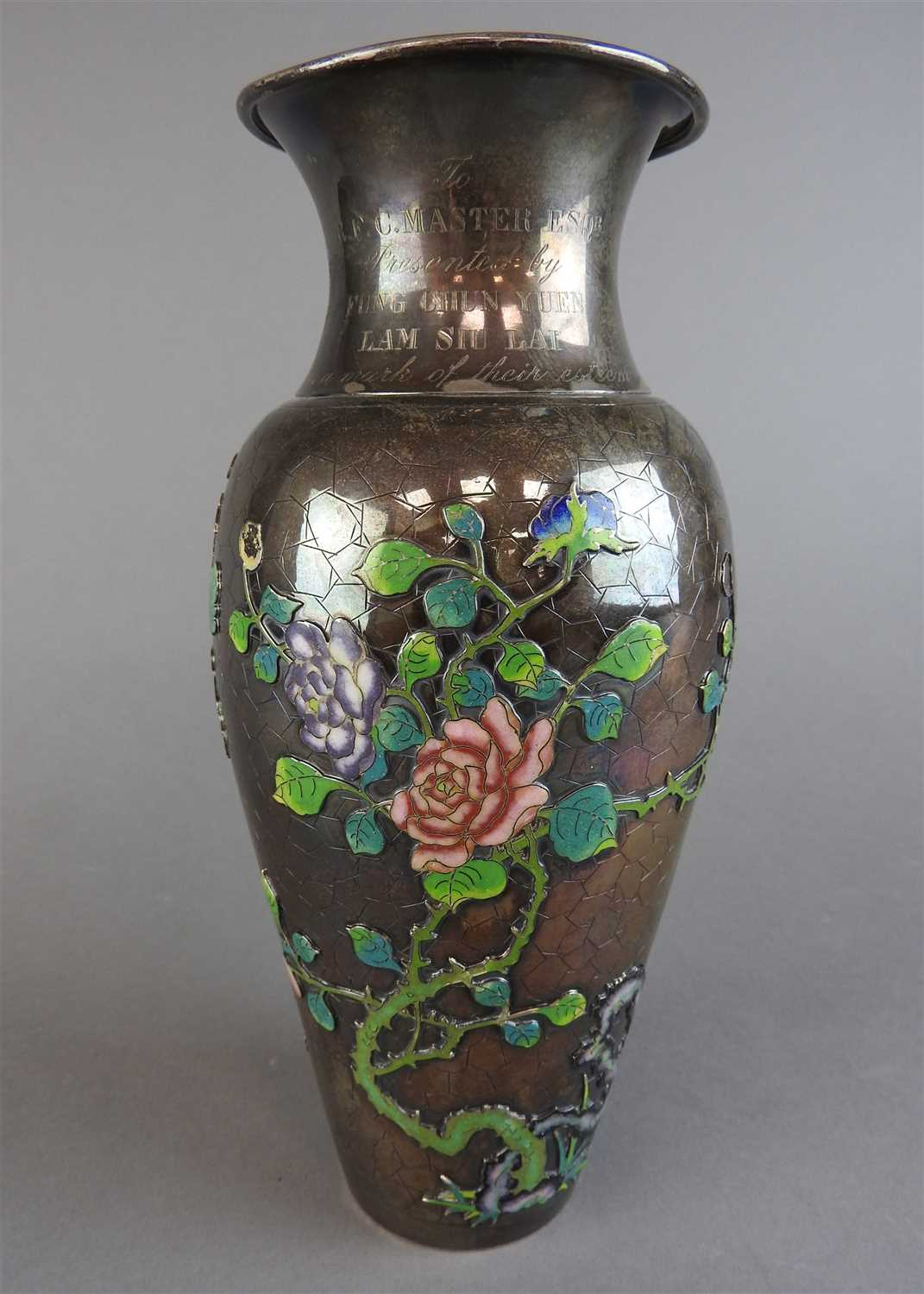 46 - A Chinese export silver and enamelled vase