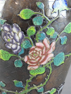 Lot 46-A Chinese export silver and enamelled vase