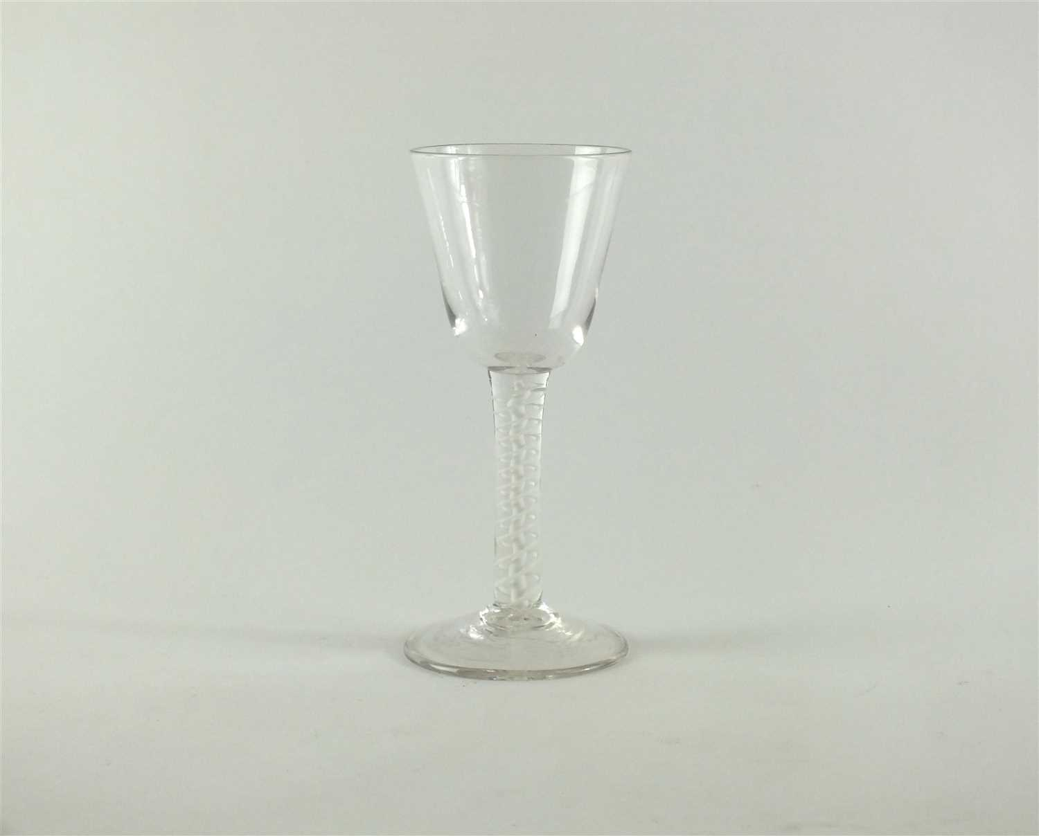 Lot 141-A George III opaque twist stem wine glass