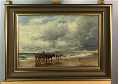Lot 14-Follower of David Cox, Beach scene, oil on canvas