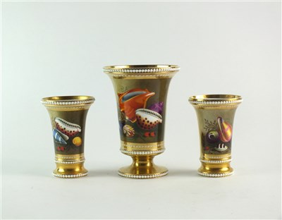 Lot 63 - A garniture of three Spode match pots