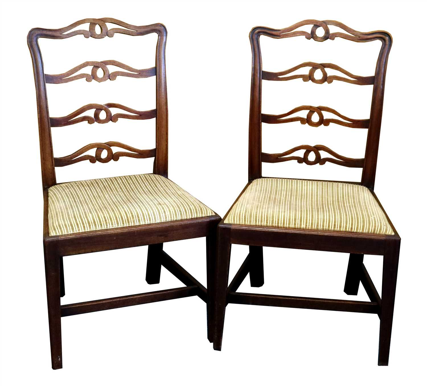 Lot 235-Seven 19th century mahogany ladder back dining chairs
