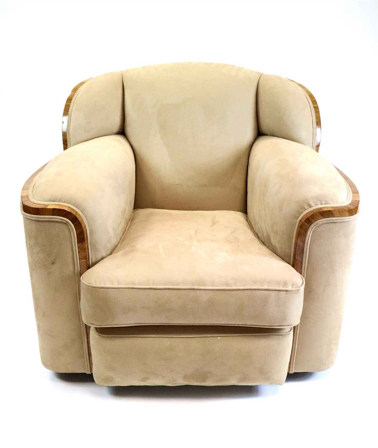 214 - A large pair of upholstered Art Deco style tub chairs