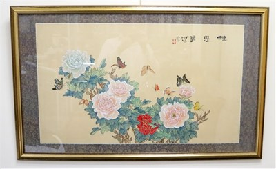 Lot 520-A framed 20th century Chinese gouache on silk