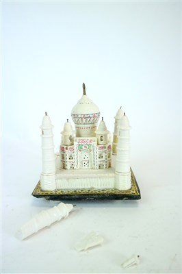 Lot 526-A small mid 20th century Indian boxed carved stone souvenir model of the Taj Mahal