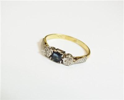 Lot 28-A three stone sapphire and diamond ring