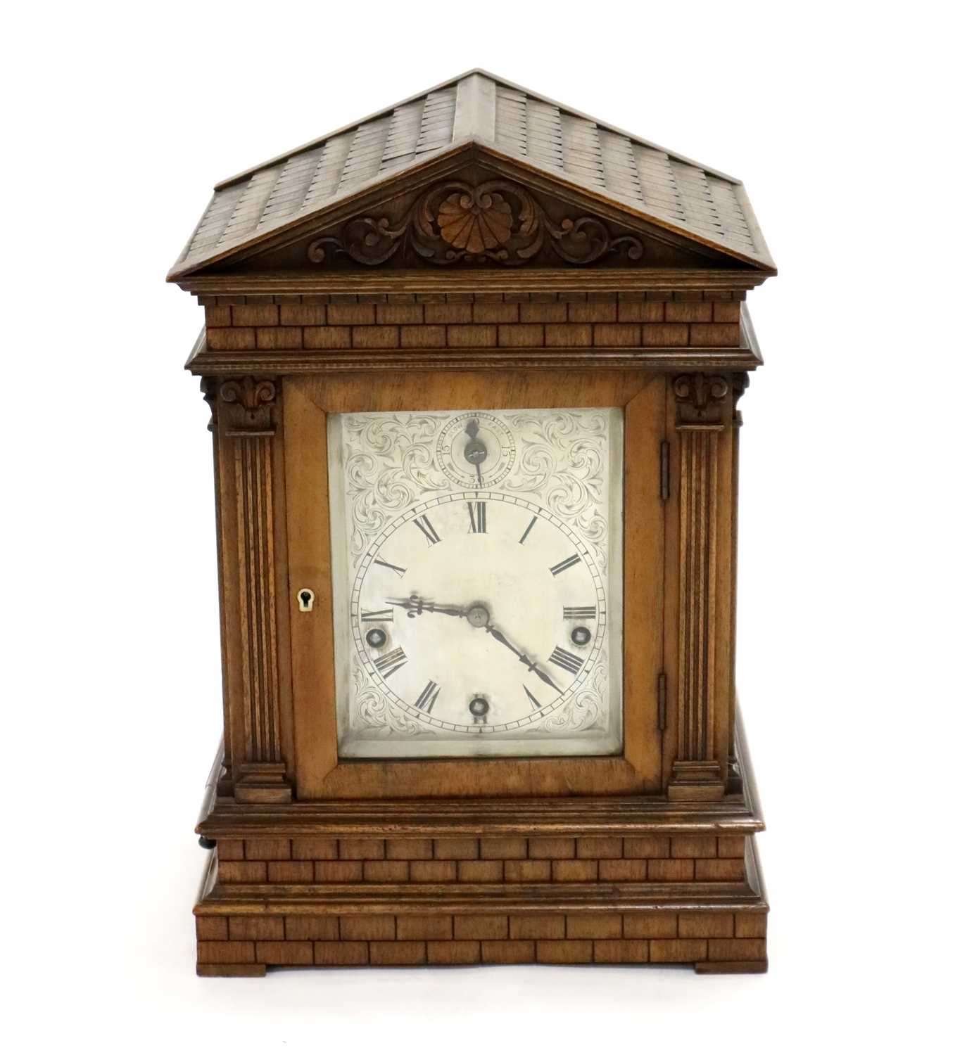 Lot 206-A 19th century German rosewood cased architectural bracket clock