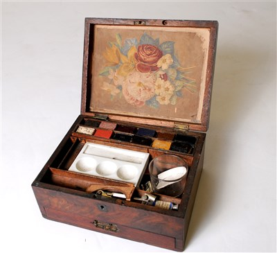 Lot 546-A Victorian mahogany boxed watercolour set