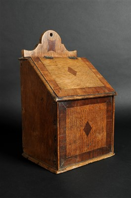 Lot 544-A George III cross-banded country oak wall-hanging candle box