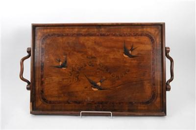 Lot 542-A decorative Edwardian Sorrento ware veneered drinks tray