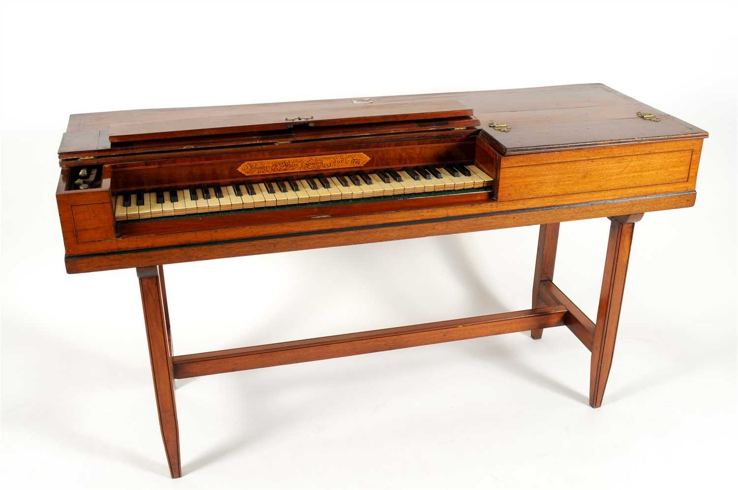 576 - An 18th century mahogany cased square piano by Johannes Pohlman, London