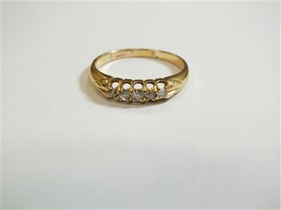 Lot 1-An 18ct gold five stone diamond ring