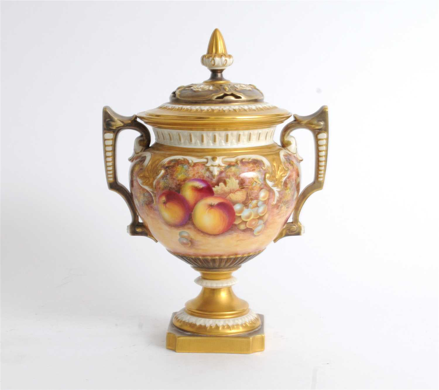 76 - Royal Worcester twin-handled fruit painted vase and cover