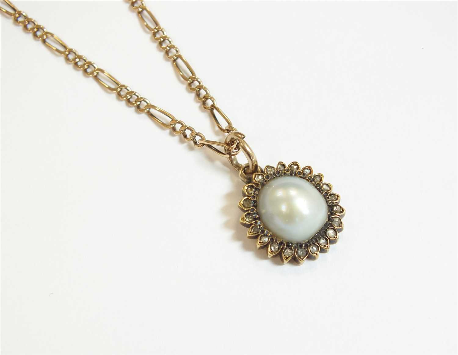 Lot 4-A pearl and diamond cluster pendant