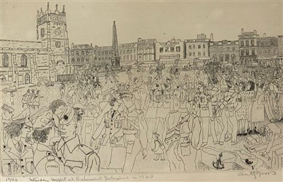 Lot 5-Anthony Gross CBE (1905-1984)- Saturday Night at Richmond Yorkshire in 1940
